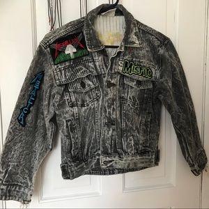Vintage 80's acid washed jeans jacket. Heavy metal